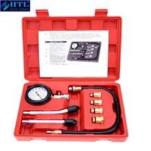 Testador de compressão medidor pressão tester kit motor automático a gasolina gás cilindro do motor da motocicleta do carro medidor pressão com adaptador