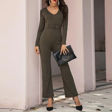 Women Simple Jumpsuits Office Lady 2020 Spring New Fashion Thin Slim  Long Pant And Long Top Casual  Solid Famale Young Work