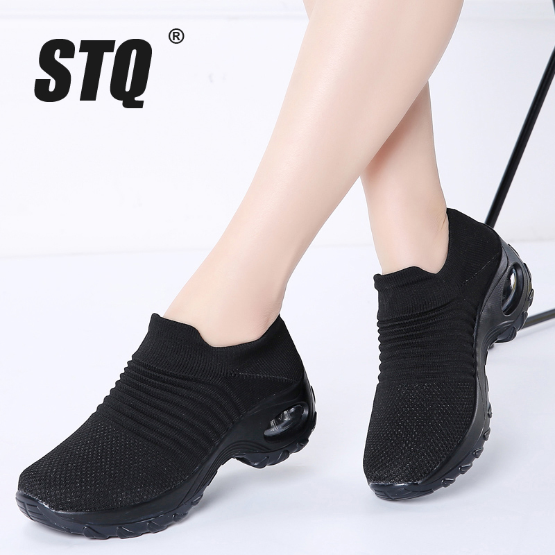STQ 2019 Autumn Women Flats Sneakers Shoes Platform Shoes For Women Creepers Mesh Sock Tennis Shoes Outdoor Walking Shoes 1839