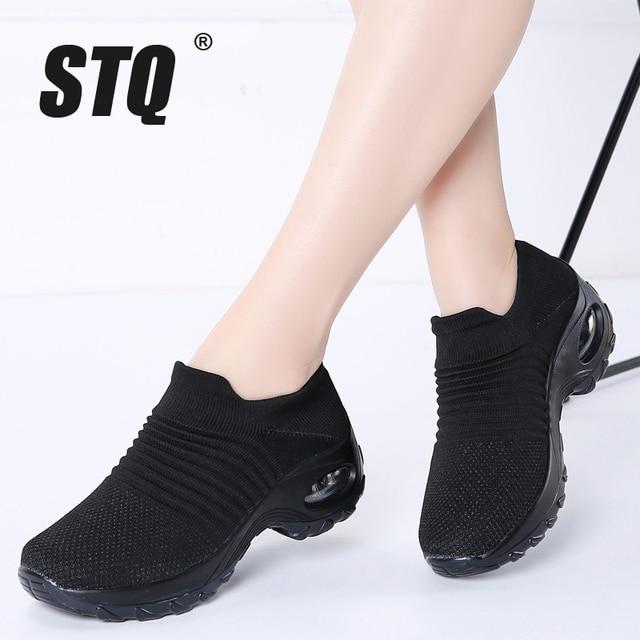 STQ 2020 Autumn Women Flats Sneakers Shoes Platform Shoes For Women Creepers Mesh Sock Tennis Shoes Outdoor Walking Shoes 1839