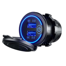 12V Dual USB Charger Socket Outlet Power Charger Pemantik Rokok Mobil untuk Sepeda Motor Auto USB Ponsel Charger(China)