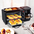 TTLIFE 3 en 1 máquina de desayuno eléctrica multifunción cafetera sartén Mini horno hogar Pan Pizza horno sartén