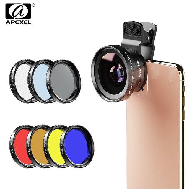 APEXEL 9in1 telefon lens kiti 0.45x geniş + 37mm UV tam mavi kırmızı renk filtresi + CPL ND32 + yıldız filtre iPhone Xiaomi için tüm akıllı telefon
