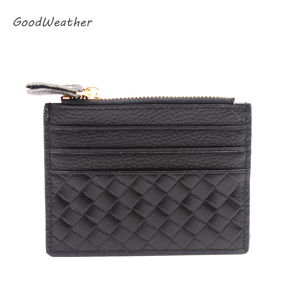 Genuine Leather Card Holder Female Black Plaid Credit ID Card Holders Zipper Wallet Change Coin Purse Keychain Business Card Bag