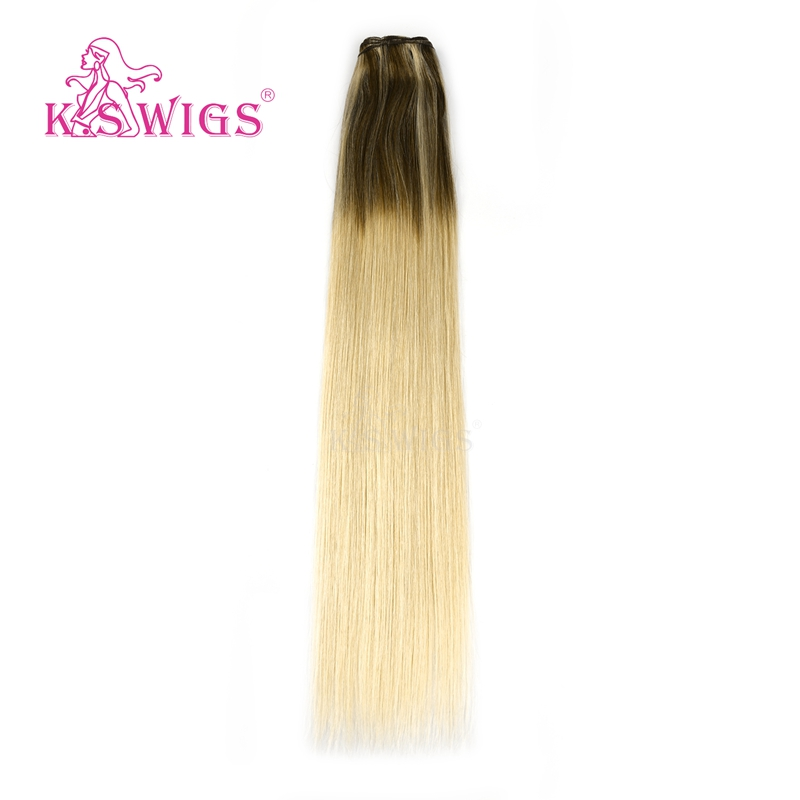 K.S WIGS 22'' 100% Remy Human Hair Weft Balayage Color Milkshake & Cinnamon Straight Double Drawn Hair Weave Bundles 100g/pc
