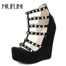цены Women's Rivet Sandals Wedge Platform Gladiator Sexy Plus Size 35-42 Peep Toe Zipper High Heels Summer Footwear Shoes For Women
