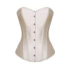 Burvogue corpetes sexy e bustiers senhoras overbust espartilho aço desossado bustier vintage cetim nupcial corset bustier topos para mulher