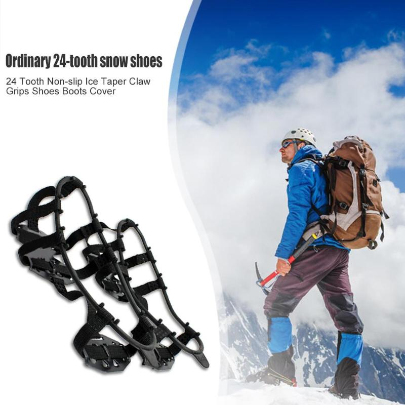 Durable Crampons Shoe Covers Delicate Design 24 Teeth Crampons Ice Climbing Shoes Cover Non-slip Mud Shoe Spiked Grips Cleats