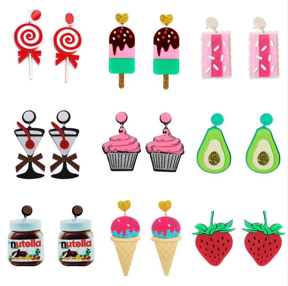 ต่างหูอะคริลิคแฟชั่นEardrop Charm Punkใหม่การ์ตูนที่มีสีสันของขวัญไอศกรีมผลไม้มะนาว