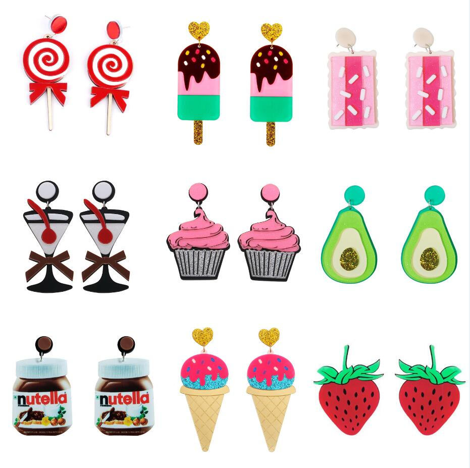 Earrings For Women Acrylic Party Fashion Eardrop Charm Punk New Cartoon Colorful Gifts Ice Cream Fruit Lemon