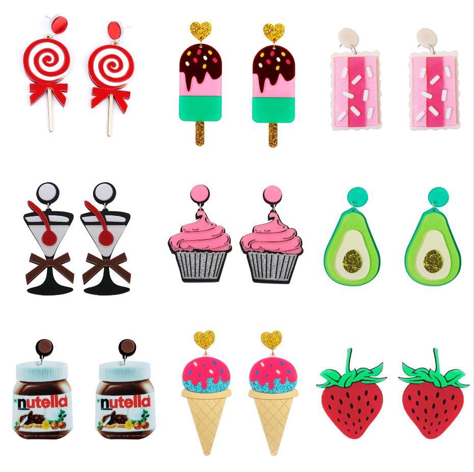 Earrings For Women Acrylic Party Fashion Eardrop Charm Punk New Cartoon Colorful Gifts Ice Cream Fruit Lemon