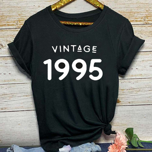 Vintage 1995 Letter Print T Shirt Women Short Sleeve O Neck Loose Tshirt 2020 Summer Women Tee Shirt Tops Camisetas Mujer