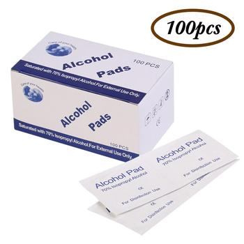 100pcs Disposable  Sterilize Disinfection WipesAlcohol Cotton Sheet Nail Cleaning Disinfection Bag Wipes