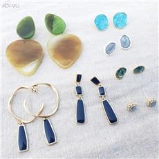 AOMU-Vintage-Green-Blue-Enamel-Acrylic-Matte-Metal-Geometric-Square-Round-Circle-Waterdrop-Stud-Earrings-for