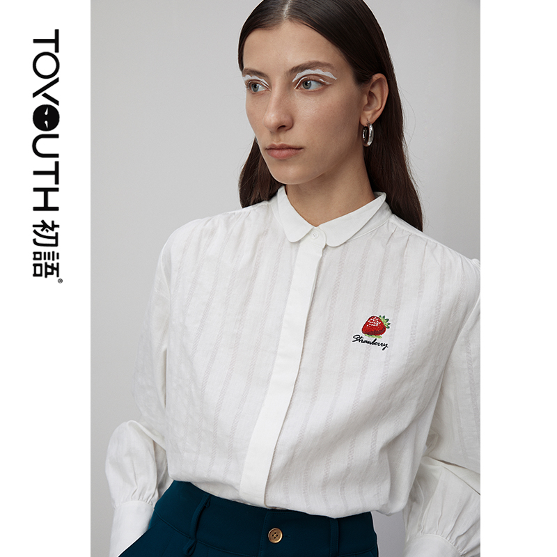 Toyouth 2020 Spring Strawberry Embroidery Women Blouses And Shirts Casual Turn-Down Collar Long Sleeve Cotton Shirts Female