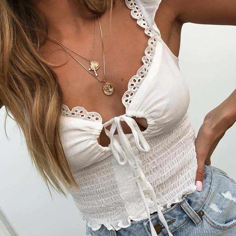Ruffle Trim Bianco Lace Up Sexy Crop Top Donne 2020 Cami Tank Top Femme Backless di Spaghetti Bralette Crop Magliette E Camicette Camicette
