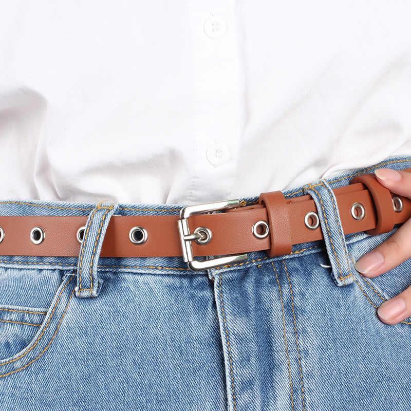 Nữ Giả Da Rỗng Đinh Tán Dây Cho Quần Jean Vuông Khóa Pin Thon Eo Cinturones Para Mujer Thường Mỏng 2.5 Cm dây Thắt Lưng