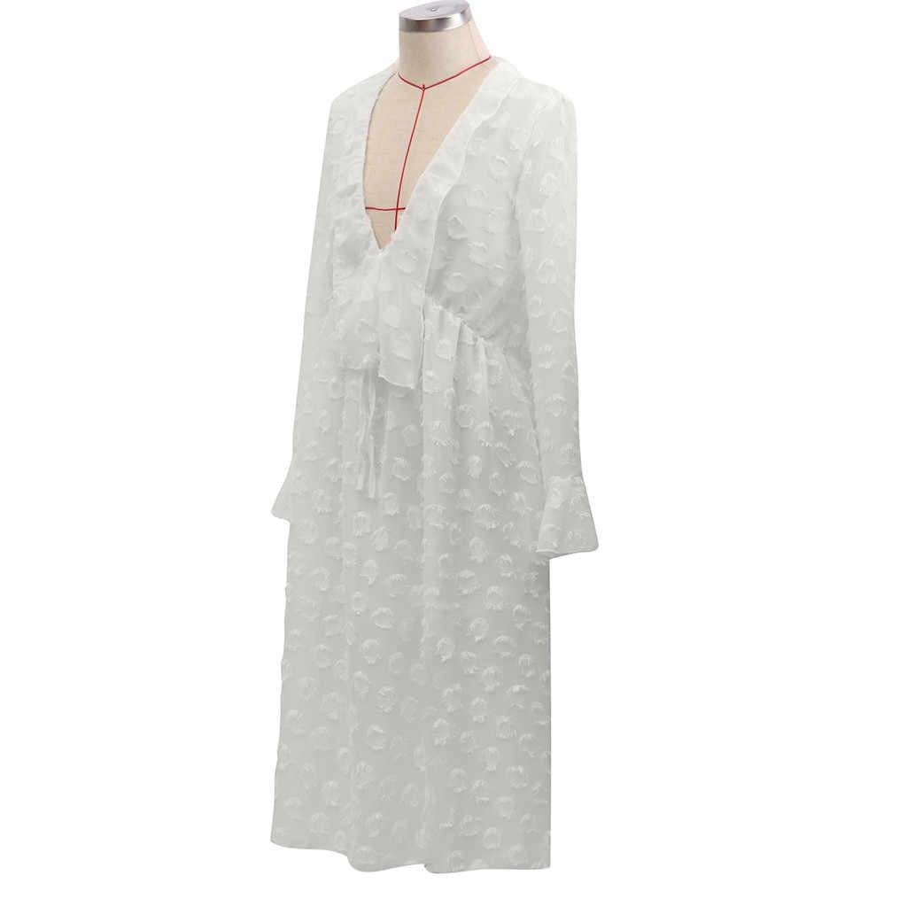 Женское летнее сексуальное хлопковое длинное платье-рубашка с v-образным вырезом, винтажное платье с длинным рукавом, большие размеры, Vestido Vestiti Donna robe femme # J30