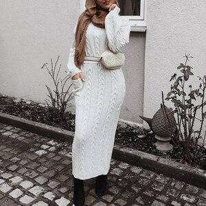 Image 2 - Camisola de inverno abaya dubai turquia muçulmano define hijab vestido caftan kaftan islam vestuário abayas para mulher robe musulman conjuntos