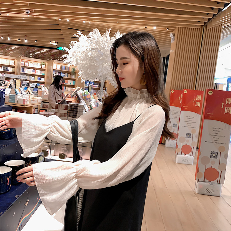 Strapped Dress 2019 Early Autumn Fu Gu Qun Two Pieces Dress Outfit Flounced Transparent Underwear T-shirt