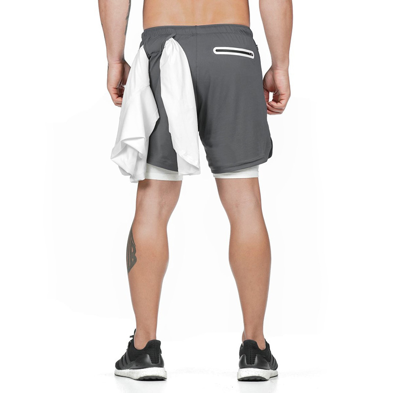 Quick Drying Running Shorts Men's 2 In 1 Security Pocket Shorts With Towel Band Hips Hiden Zipper Pockets Built-in Pockets