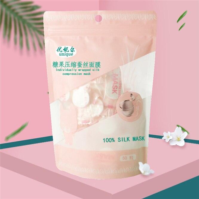 50pcs/pack DIY Natural Silk Face Mask Compress Masque Moisturizing Compressed Facial Masks Skin Care Beauty Facial Care