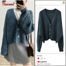 Knitted Sweater Cardigans Green Coat Long-Sleeve Single-Breasted-Button Casual Winter