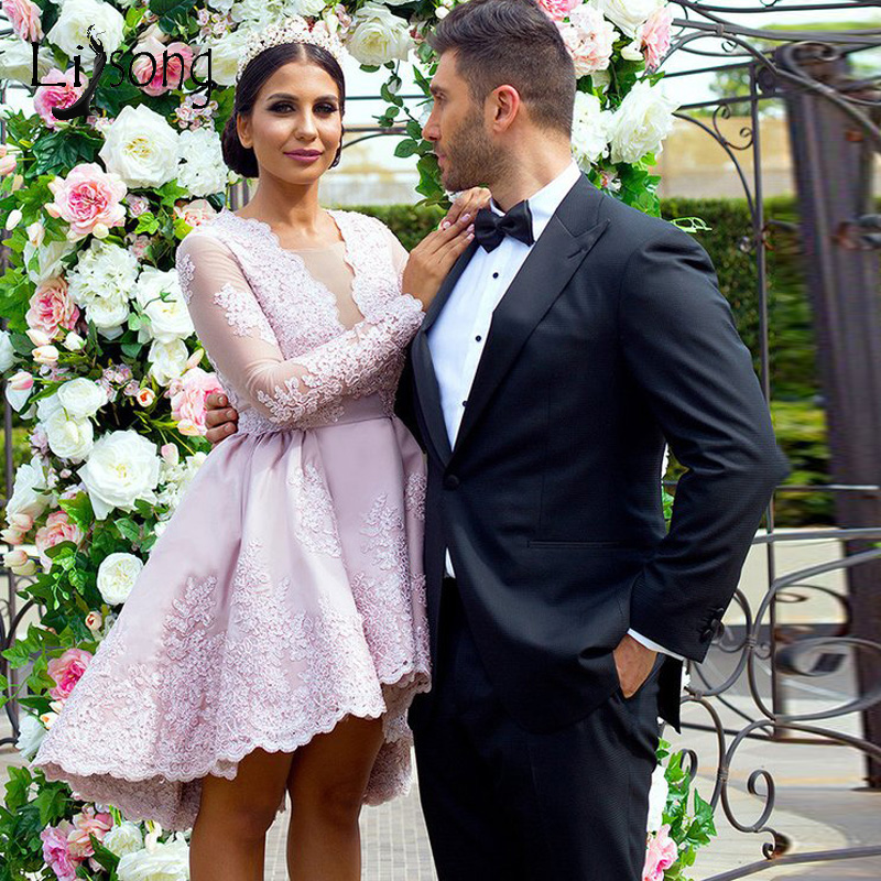Pretty Blush Pink Lace Short High Low Cocktail Dresses Full Sleeves Appliques Prom Gowns Short Formal Dresses Vestido Coctel