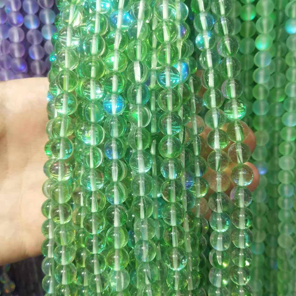 الحجر الطبيعي السلس لامعة ضوء كريستال الزجاج جولة الخرز 6 8 10 12 مللي متر لصنع المجوهرات سوار ذاتي الصنع قلادة المواد