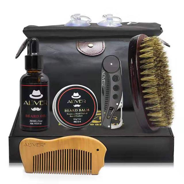 7 pcs/set Beard Care Modeling Tool Set Apron Bib Knife Brush Beard Care Suit And Shaping With Scissors As Gift 1