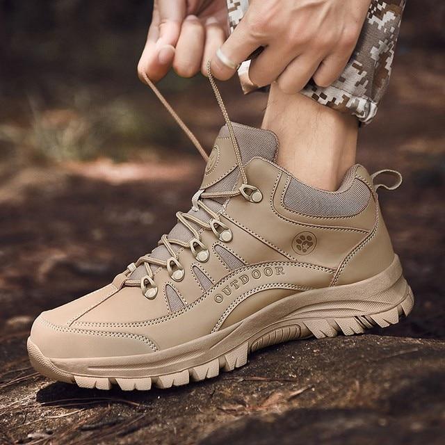 Zapatos de senderismo para hombre zapatillas de cuero transpirables botas t cticas de combate zapatillas de