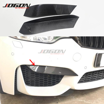 Carbon Fiber Rear Front Bumper Fog Light Fender Corner Trim Splitter Plate Cover For BMW M Series F80 M3 F82 F83 M4 2014 - 2017 image
