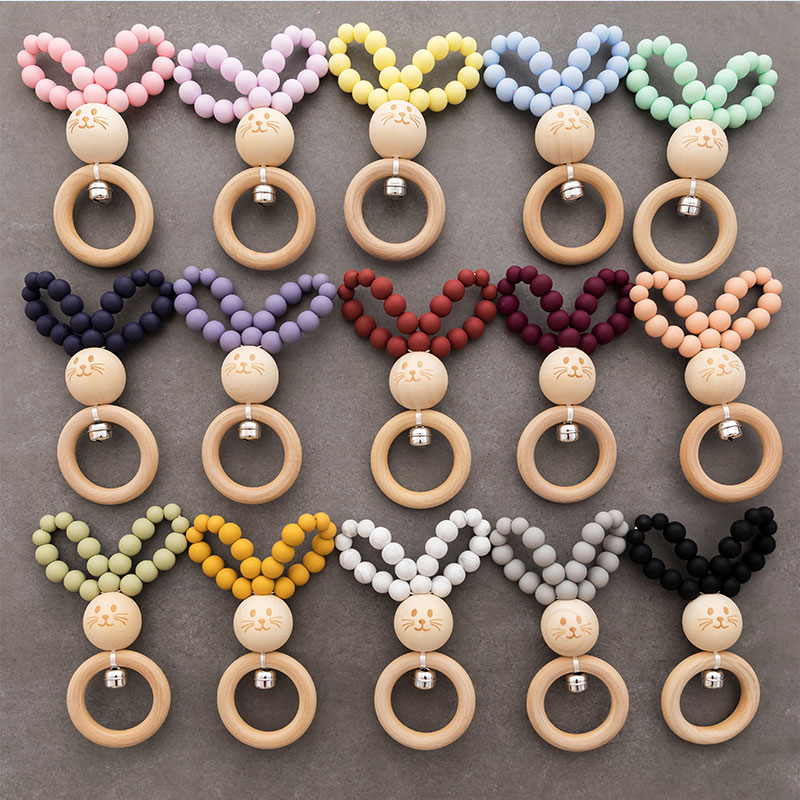 1PC Silicone Baby Teether Rodent Bunny Rattle Bracelet Wooden Ring Teething Toy Food Grade Silicone Hand Bell For Children Goods