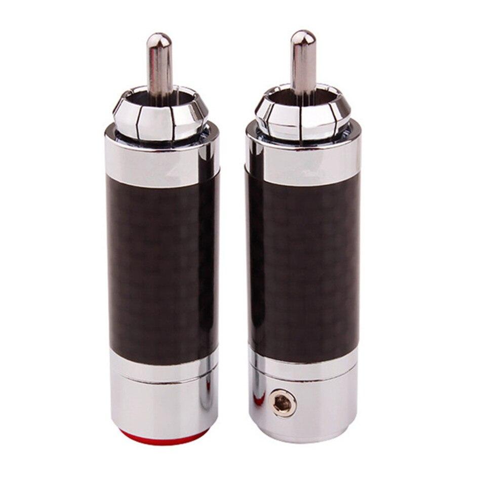 «Сделай сам», разъем RCA, штекер с родиевым покрытием, разъем для динамика Hi-Fi, медные разъемы RCA из углеродного волокна для усилителя звука, кр...