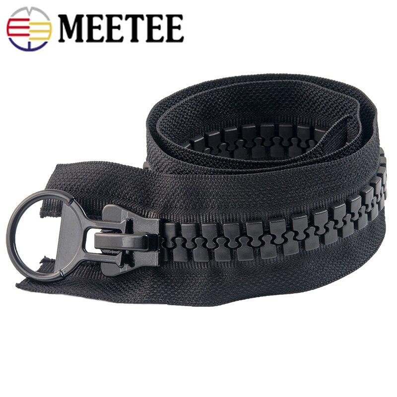 Meetee 20# 60/75/80/100/150/200CM Extra Large Resin Zipper White&black Open-end for Down Jacket Coat Pocket Zipper Sliders AP547