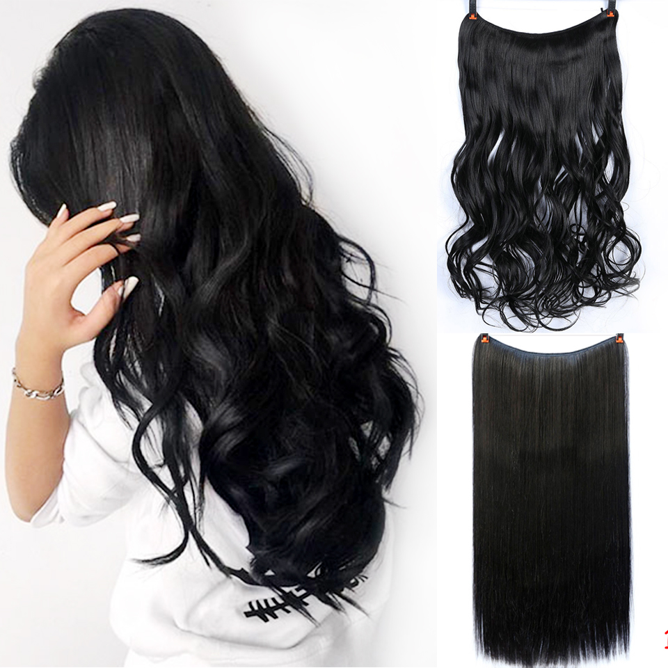 DIFEI 22 Inch 55cm Long Straight No Clips In Hair Extensions High Tempreture Synthetic  Invisible Fish Line Hairpiece