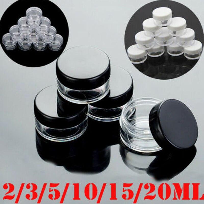 5pcs 2g/3g/5g/10g/15g/20g Empty Plastic Clear Cosmetic Jars Makeup Container Lotion Bottle Vials Face Cream Sample Pots Gel Box