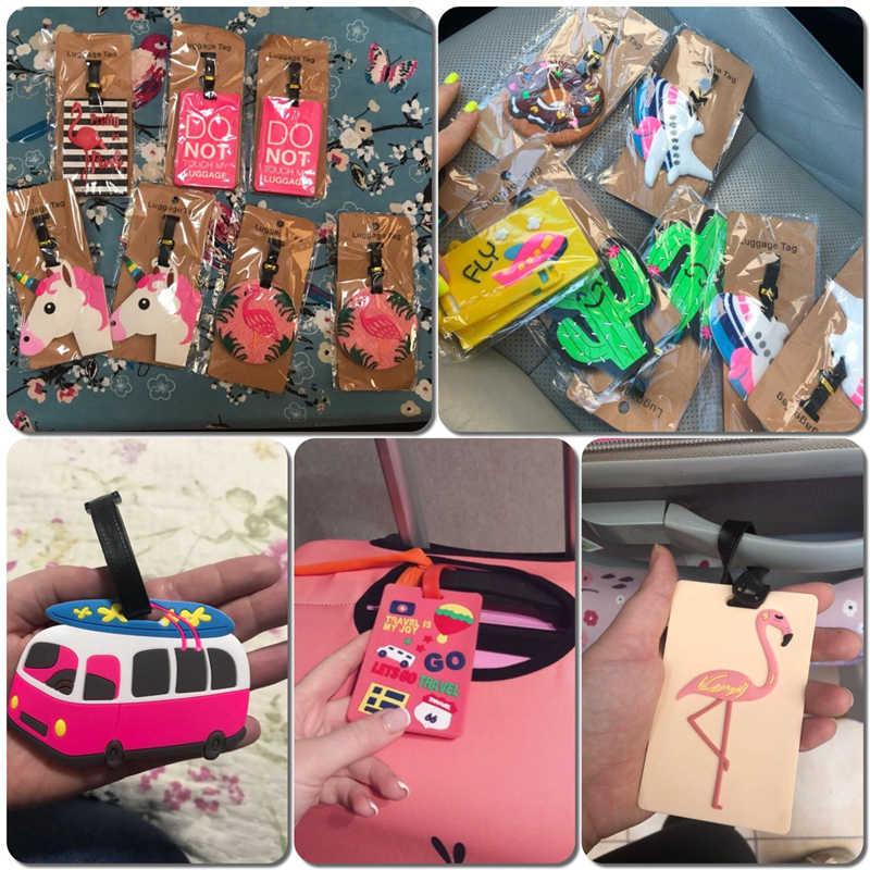 Accesorios de viaje, etiquetas de equipaje con flamenco de dibujos animados de Cactus, maletas de Gel de sílice, soporte para documentos, etiqueta portátil para equipaje