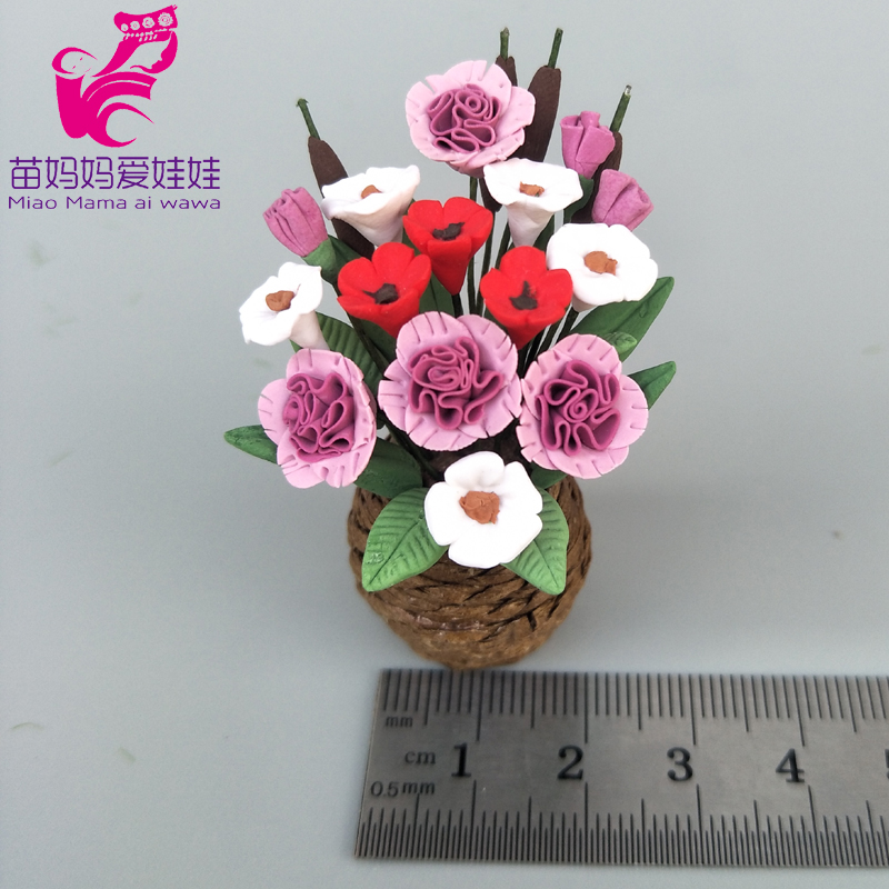 1:12 Scale Doll House Flower Basket DIY Decoration Green Plants For 1/8 1/12 Bjd For Barbie Doll Blythe