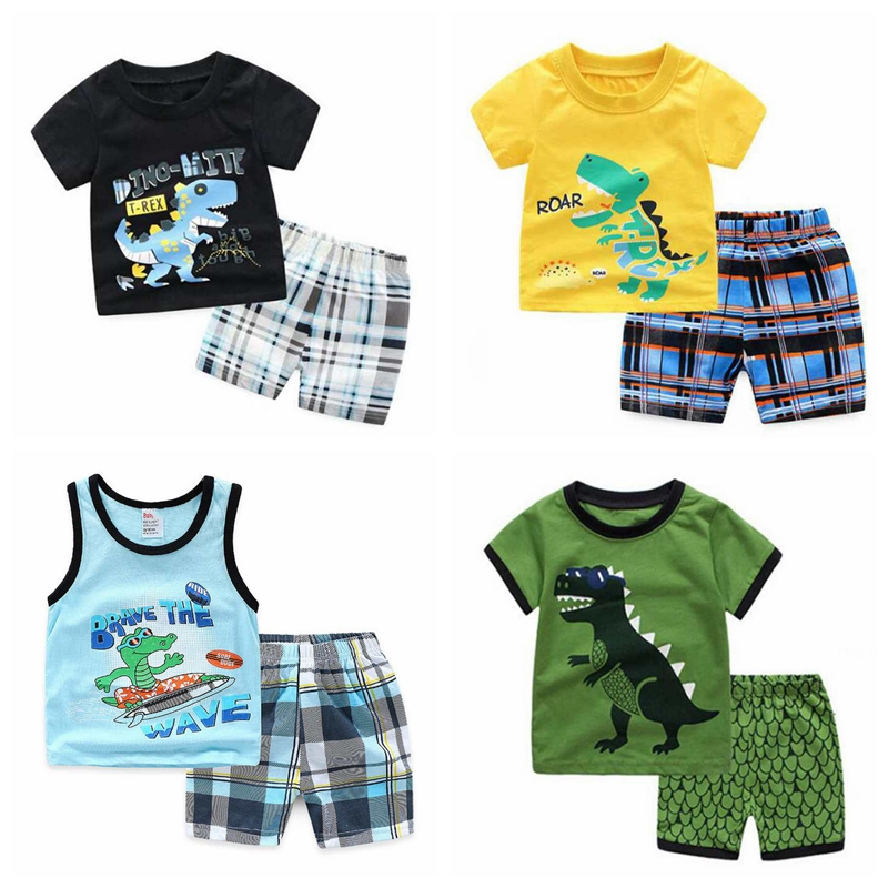 Boys Pajamas 100/% Cotton Shark Dinosaur Summer Short Set Toddler Clothes Kids Pjs Sleepwear