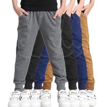 Wiosenne spodnie dla nastoletnich chłopców bawełniana z kieszeniami dla dzieci spodnie sportowe dla chłopców solidne lato 6 8 10 12 lat ubrania dla dzieci chłopców tanie i dobre opinie HENGYIXIN Poliester COTTON Luźne Chłopcy None Pełnej długości Pasuje prawda na wymiar weź swój normalny rozmiar