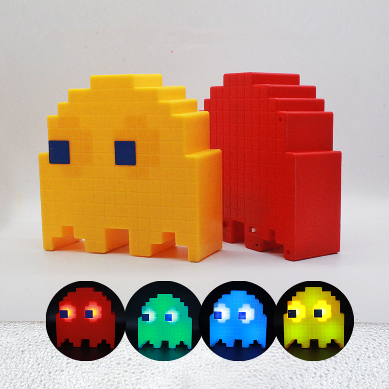 PacMan Ghost Light LED USB Rechargeable For Children Kids Room Decoration Lighting Night Light Multicolor Cartoon Night Lamps