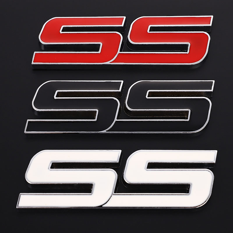 Red Metal SS Emblem Car Badge Sticker Decals For Chevrolet Chevy Impala Camaro