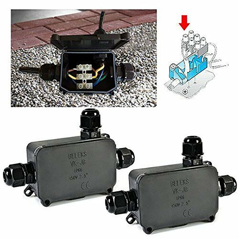 Household Junction Box For Outdoor Portable Cable Junction Box Waterproof Black Furniture Handles N