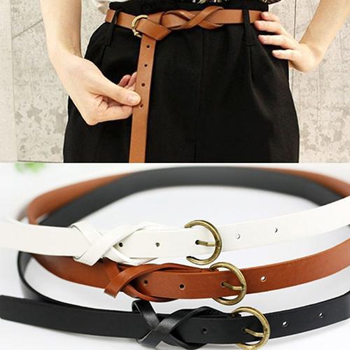 Women's Vintage Casual Simple Thin Waist Belt Faux Leather Metal Buckle Skinny Belt