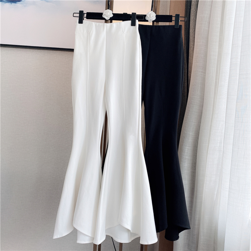Flare Pants Woman 2020 Spring New Vintage Loose-Fit High Waist Bell-bottom Pants Casual Pants Women's White Black Trousers