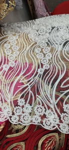 Image 5 - White Latest Nigerian Tulle Lace 2020 French Net Tull Lace Fabric For Nigerian Wedding Embroidery African Lace Fabric L G006