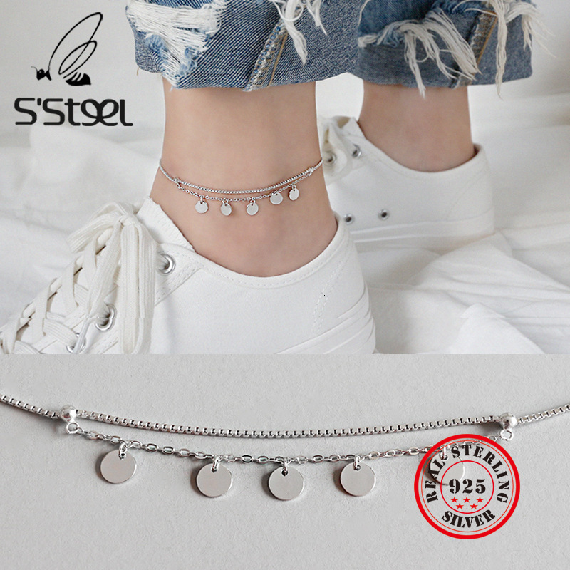 S'STEEL 925 Sterling Silver Anklets For Women Geometry Anklet Foot Acessorios Handmade Tornozeleira Feminina Leg Fine Jewelry