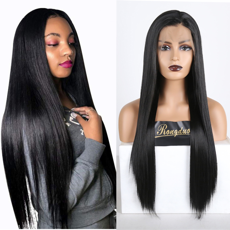 RONGDUOYI Long Silky Straight Synthetic Lace Front Wig Black Heat Resistant Fiber Hair Glueless Cosplay 13X6 Lace Wigs For Women