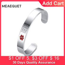 Personalized Diabetes Men Medical Alert ID Bracelets Jewelry Stainless Steel Open Bangles Not allergic Free Engraving